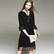 TS ハートカット メッシュ ドレス , オーガンザ / コットン混 膝丈 七部袖