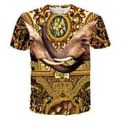Camisetas ( Algodón Compuesto )- Casual Redondo Manga Corta para Hombre