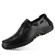 Hombre Zapatos Cuero Primavera Otoño Invierno Confort Oxfords Con Cordón Para Casual Negro Amarillo Marrón Caqui