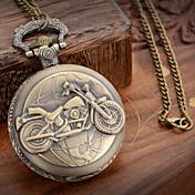 Hombre Reloj de Bolsillo Cuarzo Metal Banda Bronce