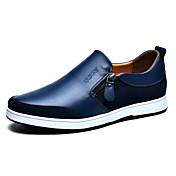 Hombre Zapatos Cuero Primavera Verano Otoño Invierno Confort Vulcanizado Zapatos Zapatos de taco bajo y Slip-On Banda Para Casual Negro