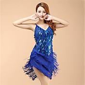 ラテンダンス ドレス 女性用 性能 オーガンザ スパンコール タッセル ドレス