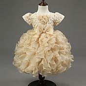 ボールガウン膝丈花ガールドレス - オーガンザジュエリーネックhua chengファッション
