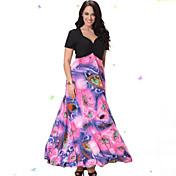 Playa más el vestido, imprimir / v cuello del remiendo de la manga corta de color rosa midi spandex / otras mujeres del verano curva dulce
