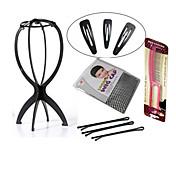 plegable peluca peluca accesorios duraderos herramientas 1pc estable se encuentra con 6 clips de estilo de pelo (negro o rosa)