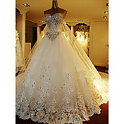 a-line恋人の大聖堂トレインチュールウェディングドレス、ビーズの刺繍ブライダル