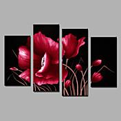 手描きの 花柄/植物のModern 4枚 キャンバス ハング塗装油絵 For ホームデコレーション