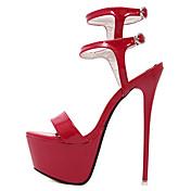レディース 靴 エナメル 夏 スティレットヒール プラットフォーム 用途 ドレスシューズ パーティー ホワイト ブラック レッド