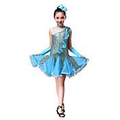 ラテンダンス ドレス 子供用 性能 ポリエステル スパンコール スパンコール フリル ドレス グローブ 帽子