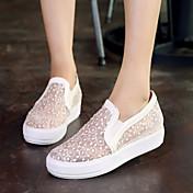 Mujer Zapatos Semicuero Primavera / Verano / Otoño Plataforma Combinación Blanco / Negro / Rosa