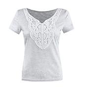 婦人向け カジュアル/普段着 夏 Tシャツ,ヴィンテージ / ストリートファッション Vネック ソリッド グレイ コットン 半袖 薄手