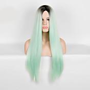 Mujer Pelucas sintéticas Largo Corte Recto Verde Pelucas para Disfraz