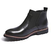Hombre Zapatos Cuero Otoño Invierno Confort botas Chelsea Botas Botines/Hasta el Tobillo Combinación Para Casual Negro Marrón Borgoña