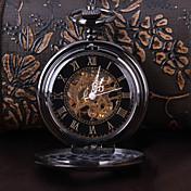 男性用 懐中時計 機械式時計 自動巻き 透かし加工 合金 バンド ラグジュアリー ブラック
