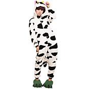 Kigurumi Pijamas vaca Collant/Pijama Macacão Festival/Celebração Pijamas Animais Dia das Bruxas Preto branco Animal Kigurumi Para Unisexo