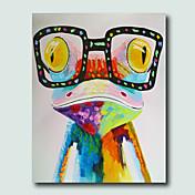Pintada a mano Animal Vertical,Modern Un Panel Lienzos Pintura al óleo pintada a colgar For Decoración hogareña