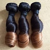 人毛 ブラジリアンヘア 人間の髪編む ウェーブ ヘアエクステンション 3個 #T1B 30