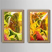 手描きの 花柄/植物の 縦式, 近代の キャンバス ハング塗装油絵 ホームデコレーション 2枚
