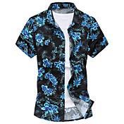 メンズ カジュアル/普段着 プラスサイズ ビーチ 夏 シャツ,シンプル レギュラーカラー フラワー コットン ポリエステル 半袖