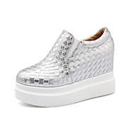 Mujer-Plataforma-Punta Redonda / Confort-Zapatos de taco bajo y Slip-Ons-Exterior / Oficina y Trabajo / Casual-PU-Negro / Blanco / Plata
