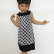 Bebé Vestido Chica de Diario A Lunares Algodón Sin Mangas Todas las Temporadas A lunares Blanco Negro