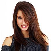 Mujer Pelucas sintéticas Sin Tapa Liso Liso Natural Marrón Oscuro Con flequillo negro peluca Peluca de Halloween Peluca de carnaval Las