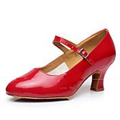 Mujer Moderno Brillantina Cuero Patentado Sintético Sandalia Tacones Alto Zapatilla Entrenamiento Interior Volantes Hebilla Fruncido