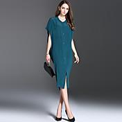 ストリートファッション シース ミディ ドレス, ソリッド 半袖 ラウンドネック