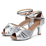 Obyčejné-Dámské-Taneční boty-Latina / Taneční tenisky-Koženka / Pažetky-Kubánský-Stříbrná