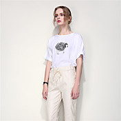 ARNE® Mujer Escote Redondo Manga Corta Camiseta Blanco-B059