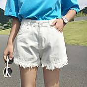 Mujer Casual Microelástico Shorts Vaqueros Pantalones,Un Color Algodón Primavera Verano