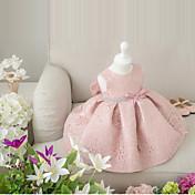 Salón Corta / Mini Vestido de Niña Florista - Encaje Sin Mangas Joya con Lazo(s) por Amgam