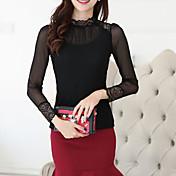 Mujer Casual Diario Otoño Camisa,Escote Redondo Un Color Manga Larga Poliéster Fino