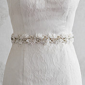 結婚式 パーティー/フォーマル 日常着 サッシュ With ビーズ アップリケ フラワー 真珠