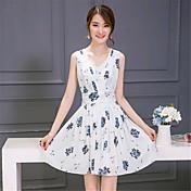 Mulheres Bainha Vestido,Happy-Hour Moda de Rua Estampado Decote V Acima do Joelho Sem Manga Branco / Preto Algodão / Elastano Verão