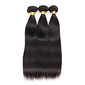 人毛 ブラジリアンヘア 人間の髪編む ストレート ヘアエクステンション 3個 ブラック