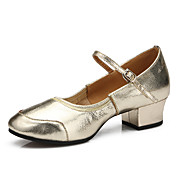 Mujer Zapatos de Baile Latino / Zapatos de Baile Moderno Cuero Tacones Alto Hebilla Tacón Plano Personalizables Zapatos de baile Plata /