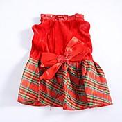 Perro Vestidos Ropa para Perro Moda Navidad Ajedrez Disfraz Para mascotas