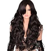 Mujer Pelucas sintéticas Largo Ondulado Natural Morrón Oscuro Parte lateral Con flequillo Pelucas sin tapa Peluca de Halloween Peluca de