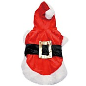 Perro Disfraces Saco y Capucha Ropa para Perro Cosplay Navidad Un Color Rojo Disfraz Para mascotas
