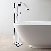 コンテンポラリー 床取付け ハンドシャワーは含まれている 床置き セラミックバルブ シングルハンドルつの穴 クロム , 浴槽用水栓