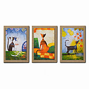 手描きの 抽象画 人物 ファンタジー 抽象的な肖像画 縦式, 近代の キャンバス ハング塗装油絵 ホームデコレーション 3枚
