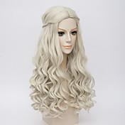 女性 人工毛ウィッグ ロング丈 非常に長いです ウェーブ ホワイト ミドル部 ブレイズウィッグ コスプレ用ウィッグ コスチュームウィッグ