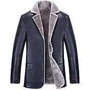 男性 カジュアル/普段着 / プラスサイズ ソリッド レザージャケット,シンプル ブルー / ブラック / ブラウン Lambskin 長袖