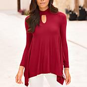 Mujer Vintage Casual/Diario Para Todas las Temporadas Camiseta,Cuello Barco Un Color Manga Larga Poliéster Rojo / Negro Medio