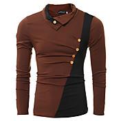 Hombre Casual Diario Deportes Invierno Otoño Camiseta,Cuello Alto Bloques Manga Larga Algodón Fino