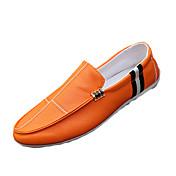 メンズ 靴 PUレザー 春 秋 コンフォートシューズ ローファー&スリップアドオン 用途 カジュアル ホワイト ブラック オレンジ