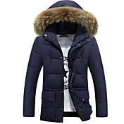 コート レギュラー ダウン メンズ,カジュアル/普段着 プラスサイズ ソリッド コットン ポリエステル-シンプル 長袖 フード付き