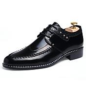 Hombre Zapatos Cuero Primavera Otoño Invierno Zapatos formales Botas de Moda Oxfords Con Cordón Para Casual Negro Marrón Claro Borgoña
