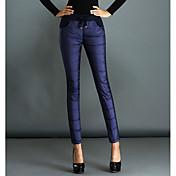 女性 プラスサイズ ジーンズ パンツ,カジュアル/普段着 シンプル ゼブラプリント ハイライズ コットン 伸縮性 冬